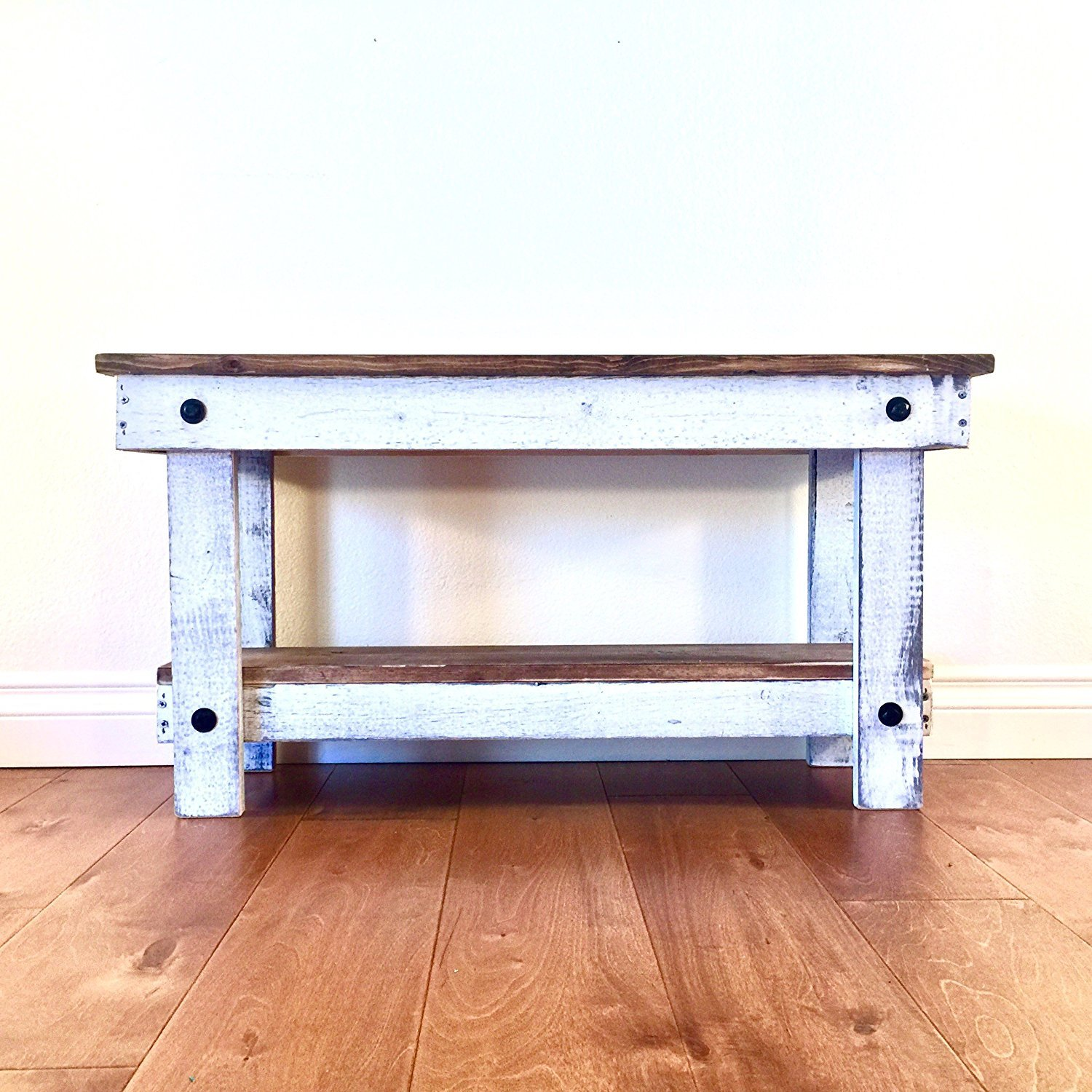 Rustic Handcrafted Reclaimed Bench - Easy Self Assembly - Natural & White 36x12x18