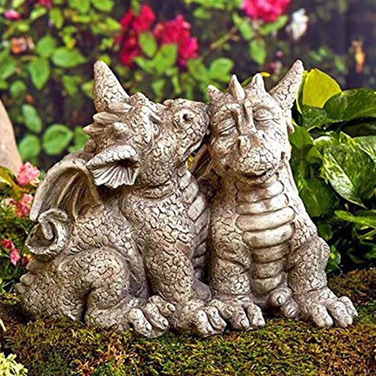 Nileco Whimsical Resin Outdoor Statue Yard Art Ornaments,Dragon Garden Statues,Animals Statues Cute Sleeping Dragon Sculptures for Home Decor Backyard Patio Lawn-C One Size