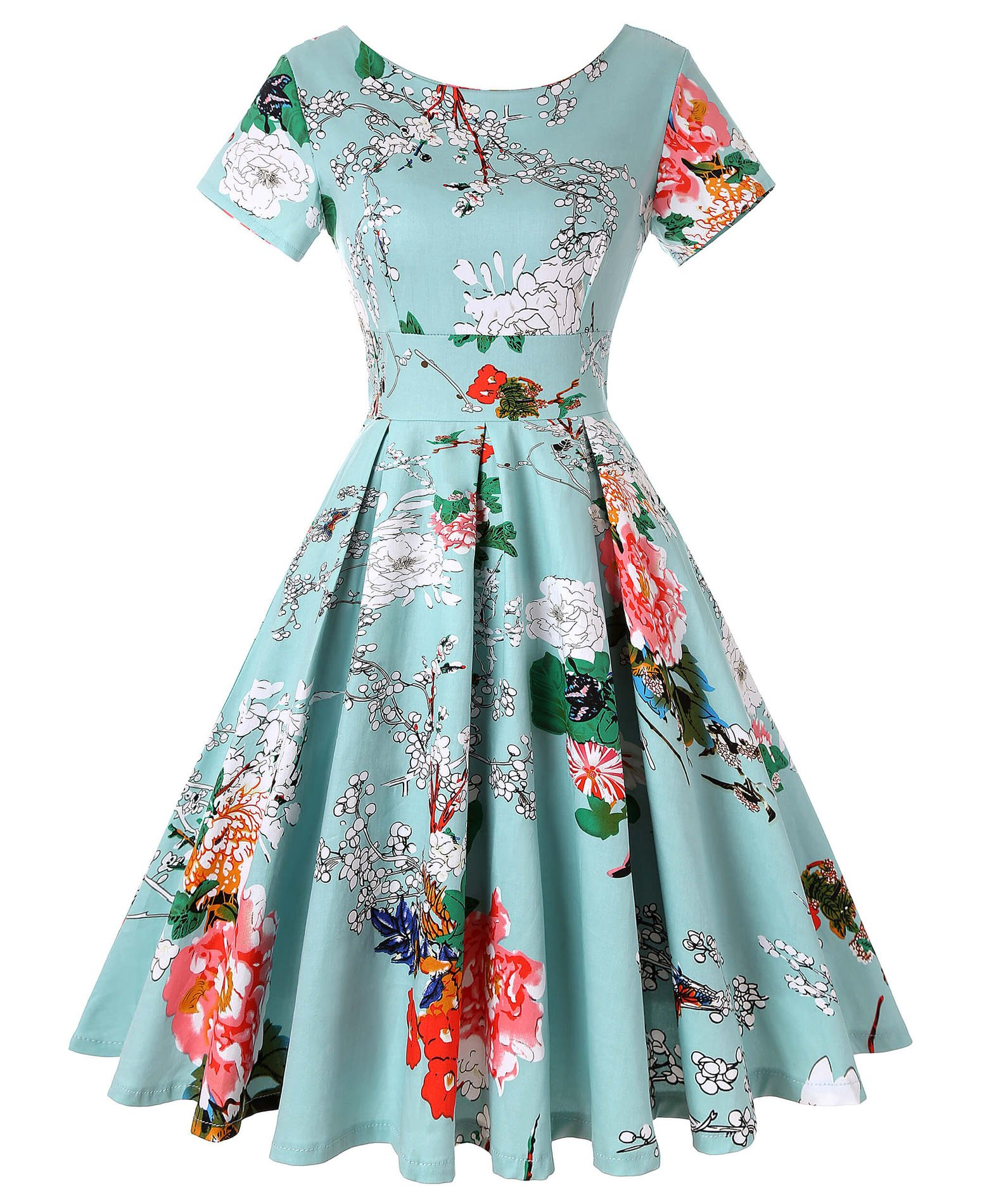 ROOSEY Womens Vintage Dresses Floral Print Rockabilly Swing Prom Cocktail Dress Short Sleeve, Pattern 2, XX-Large