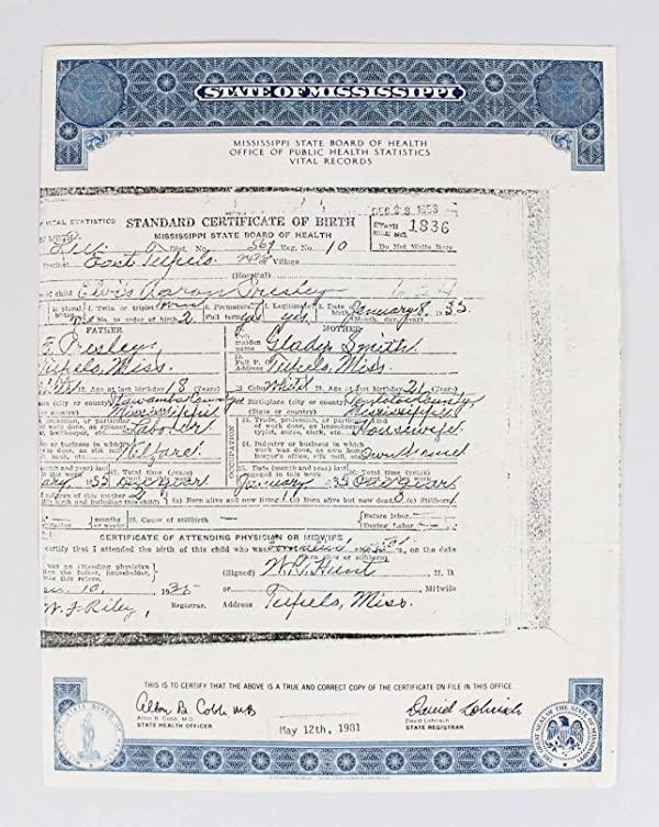 elvis presley's official birth certificate from mississippi state ...