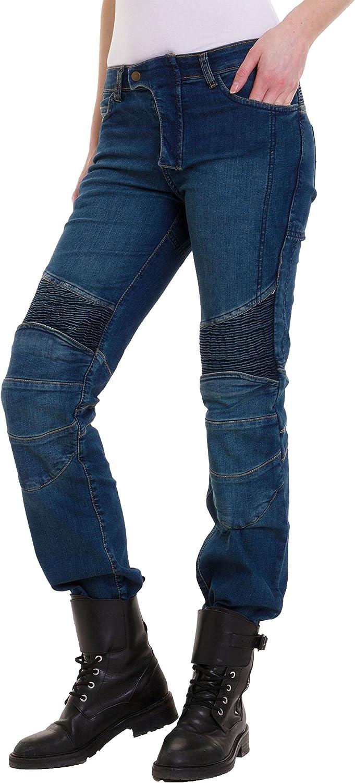 Qaswa Womens Motorcycle Denim Pants Motorbike Jeans with Stretch Panel Aramid Protection Lining Biker Trousers
