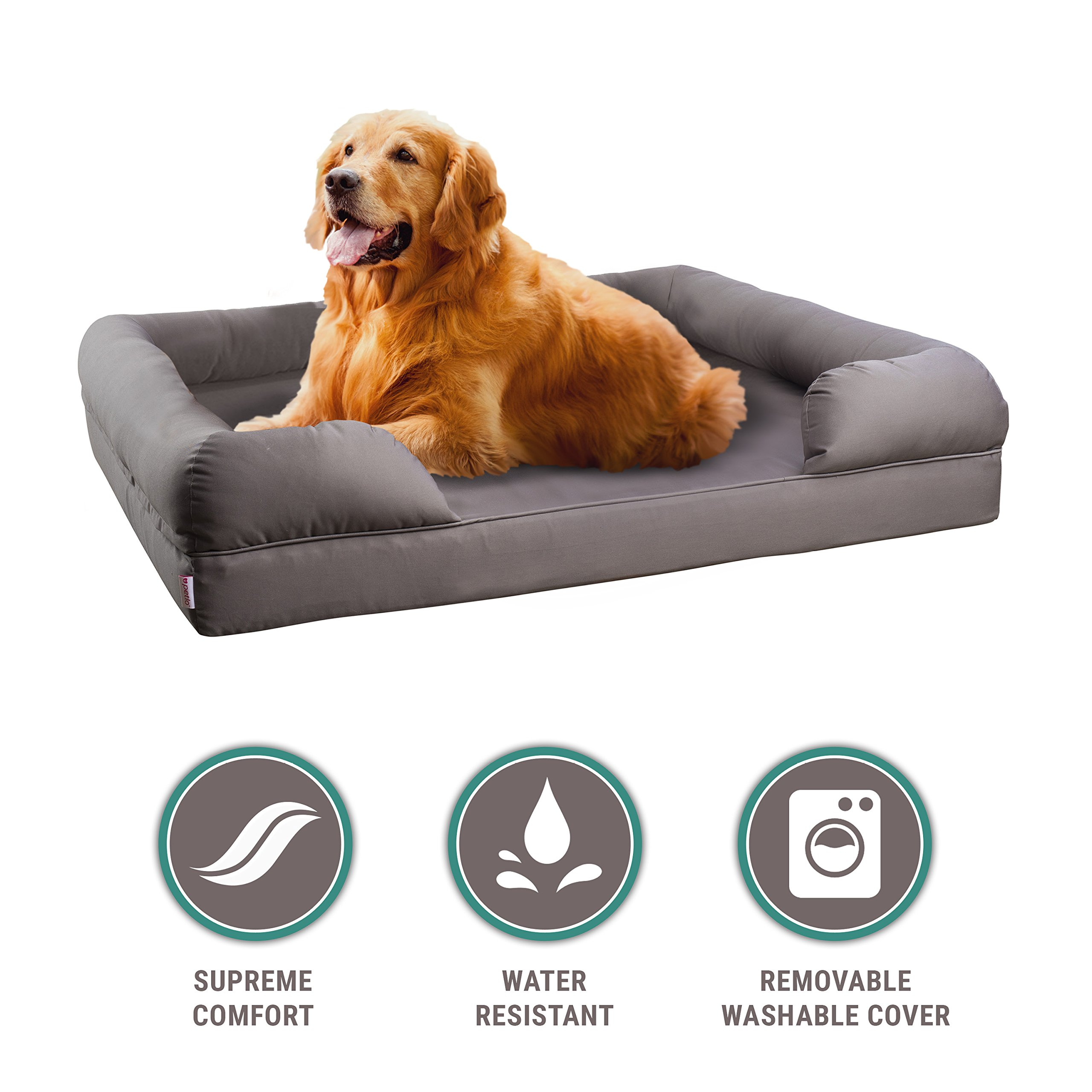 Petlo Orthopedic Pet Sofa Bed - Dog, Cat or Puppy Memory Foam Mattress Comfortable Couch for Pets with Removable Washable Cover (Large - 36'' x 28'' x 9'', Grey)