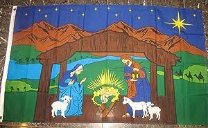 """""""Christ Is Born"""" Nativity Scene Christianity Garden Flag 3'x5' Baby Jesus Christian Banner"""