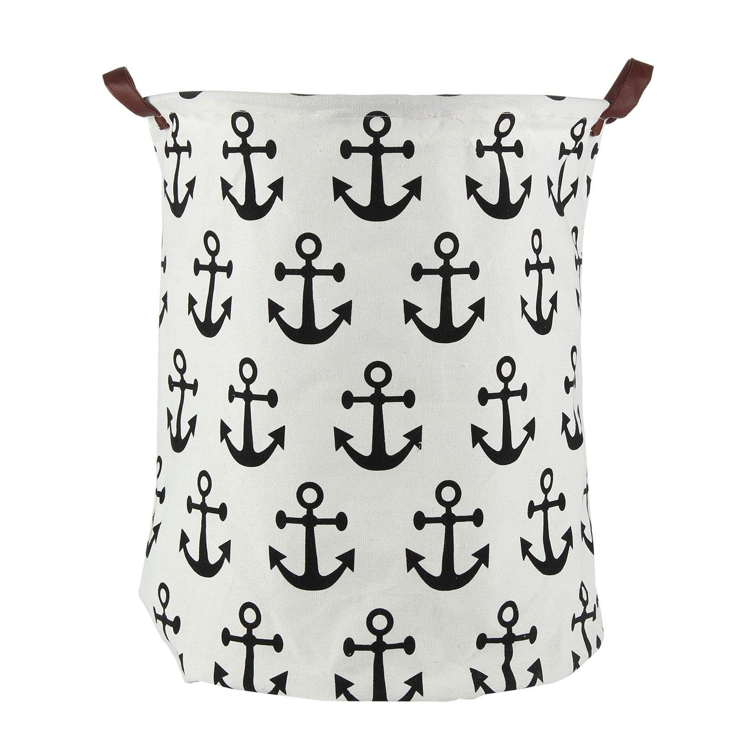 Pawaca Foldable Storage Basket with Anchor Design, 15.74'' x 19.68'' Home Organizer, Large Capacity for Toys Clothes Nursery, Sailor Style