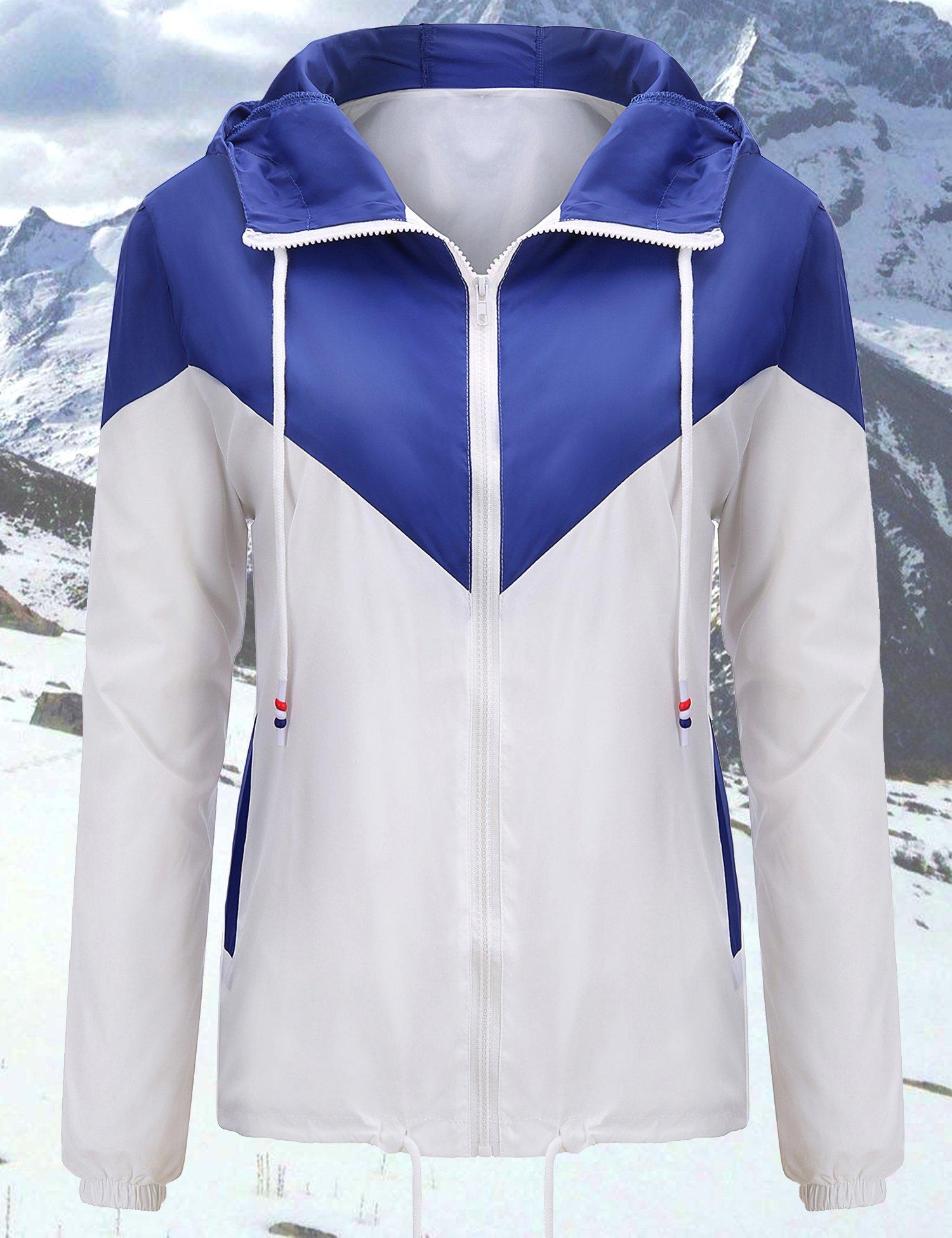 Uniboutique Rain Jacket Women Plus Size Contrast Color Windbreaker White Royal Blue XXL