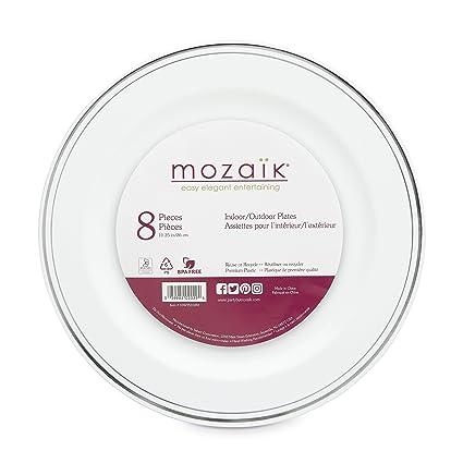 Mozaik Premium Plastic 10.25u0026quot; Silver Banded Dinner Plates ...  sc 1 st  Amazon.com & Amazon.com: Mozaik Premium Plastic 10.25