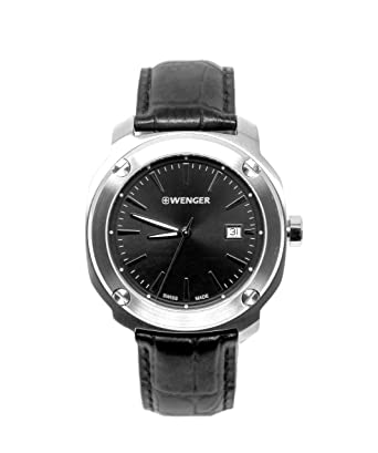 427506e243a Image Unavailable. Image not available for. Color  Wenger Edge Index Black  Dial Leather Strap Men s Watch 011141110