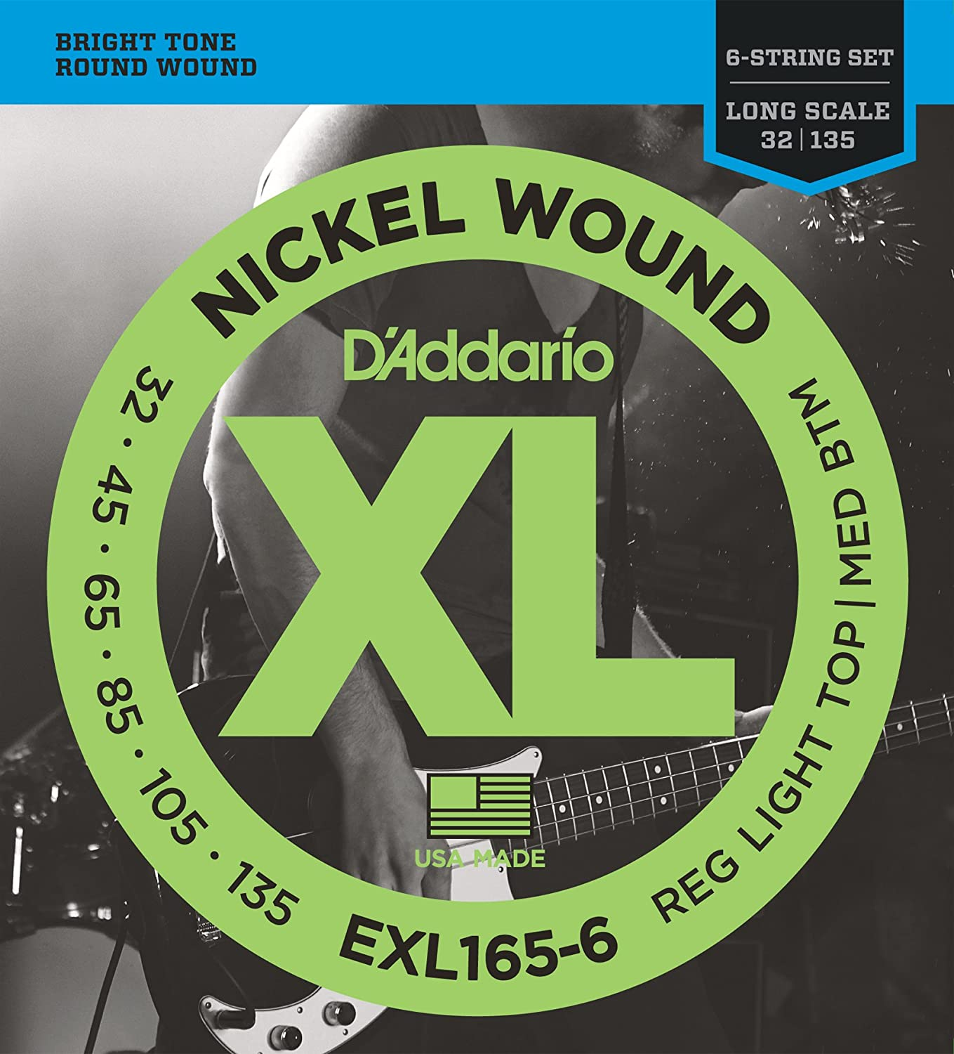 D'Addario EXL170-6 6-String Nickel Wound Bass Guitar Strings, Light, 32-130, Long Scale D'Addario &Co. Inc
