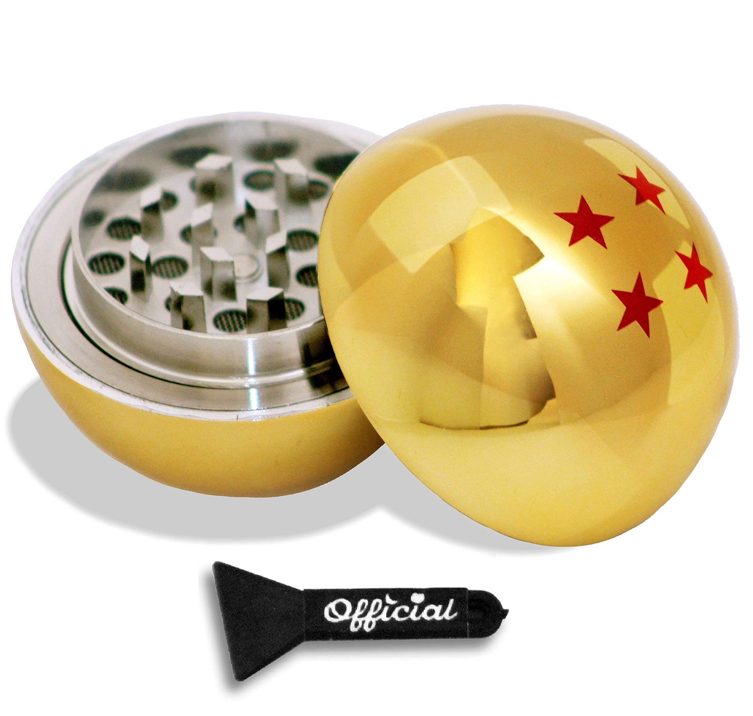 Official Dragon Ball Z Herb Grinder - 4 Star Golden Dragonball Herb & Spice Tool With BONUS Scraper Tool - Dragon Ball Z Gifts - 3 Part Grinder, 2.2 Inches by Nestpark by nestpark