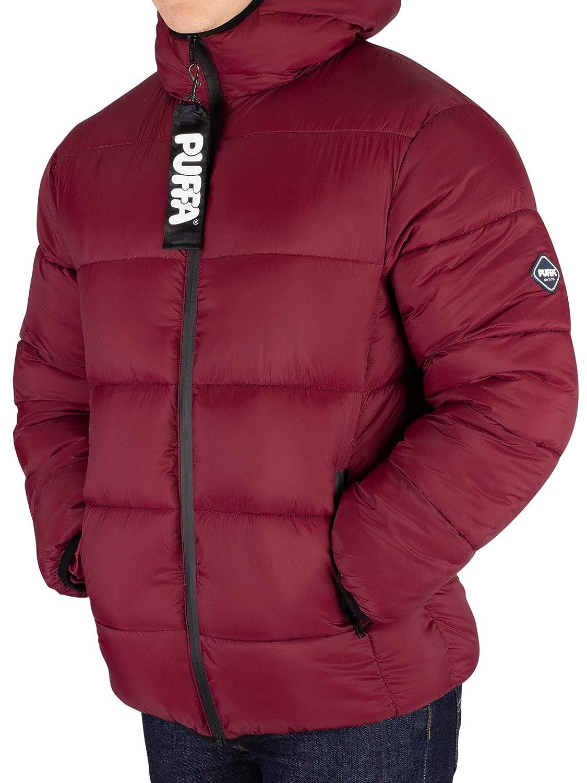 Red Puffa Mens Hooded Jacket