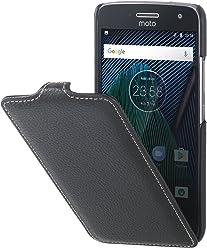 StilGut UltraSlim Case, custodia flip case in vera pelle per Lenovo Moto G5 Plus, nero