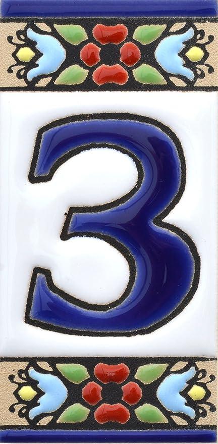 LETRA R Dise/ño MOSAICO MINI 7,3 cm x 3,5 cm. direcciones y se/ñal/éctica Letreros con numeros y letras en azulejo de ceramica policromada Texto personalizable pintados a mano en t/écnica cuerda seca para placas con nombres