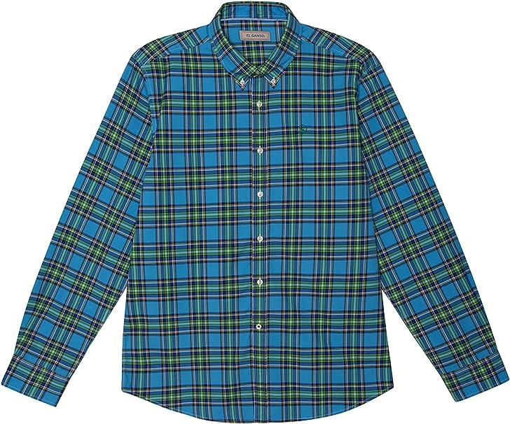 El Ganso Colección Urban Basic, Camisa de Cuadros Madrás, para Hombre, Manga Larga, Talla S, Azul y Verde: Amazon.es: Ropa y accesorios