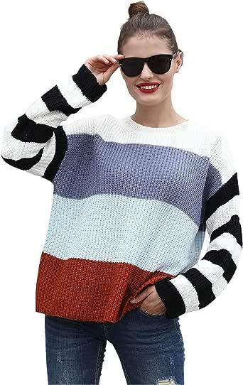 Hawiton Jersey Punto Mujer Invierno Rayas Camisa Manga Larga Suéter Suelto Pullover Tops Elegantes Sudaderas Blusas Talla Grande,Regalo