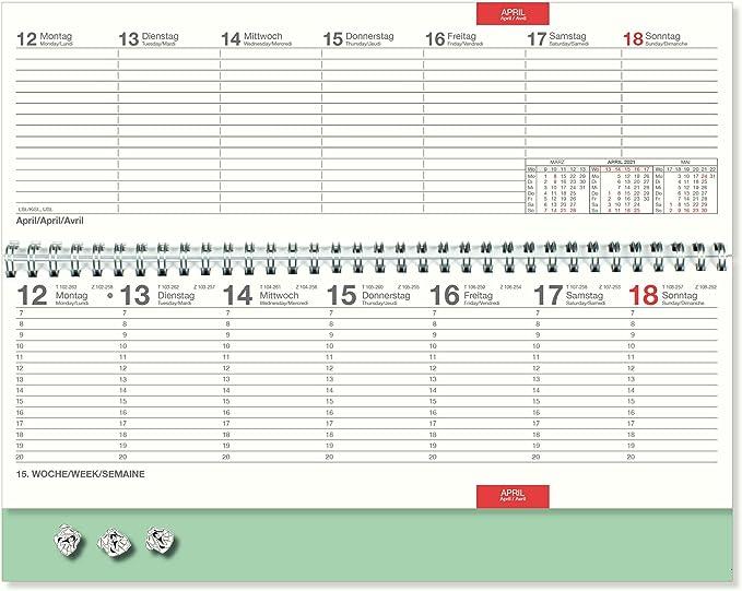 Tischquerkalender 2021 Prinzessin Spiralkalender quer Schreibtischkalender B/ürokalender 1 Woche je 2 Seite auf 128 Seiten Sonn und Feiertage in Rot