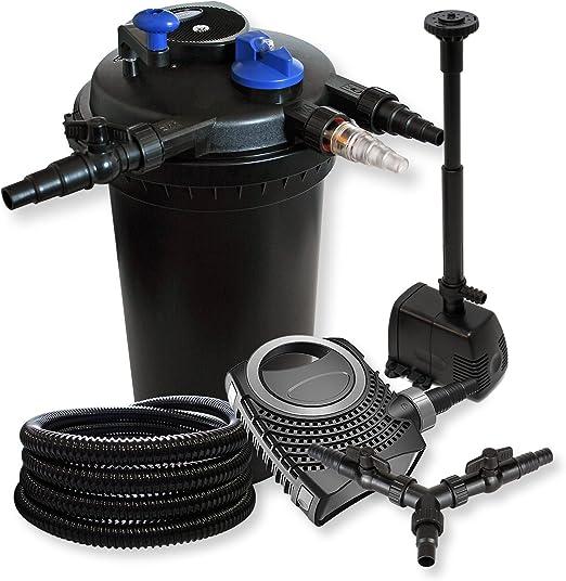 WilTec SunSun Kit Filtración Estanque presión 30000L 18W UVC neo10000 80W Bomba 25 m Manguera Fuente Jardin: Amazon.es: Jardín