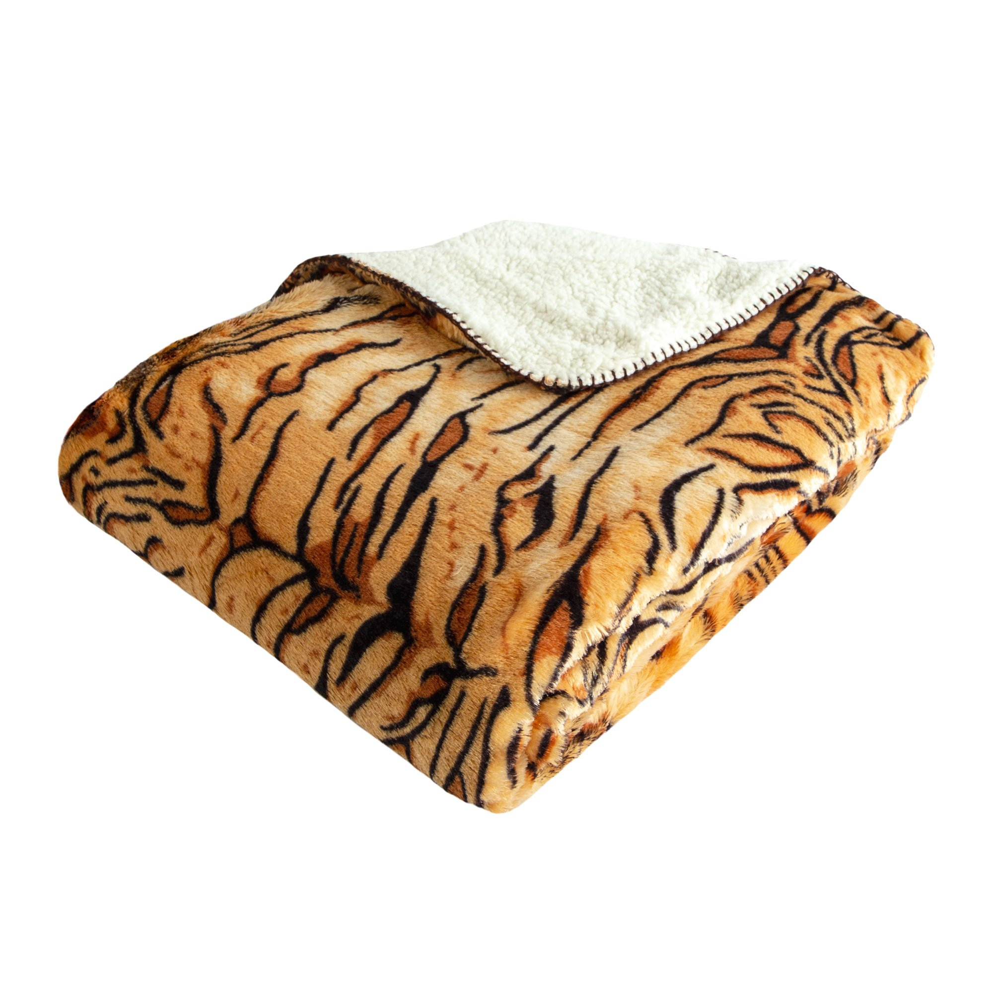 Cozy Fleece Oversized Luxury Mink Animal Print Throw with Sherpa Back, Tiger