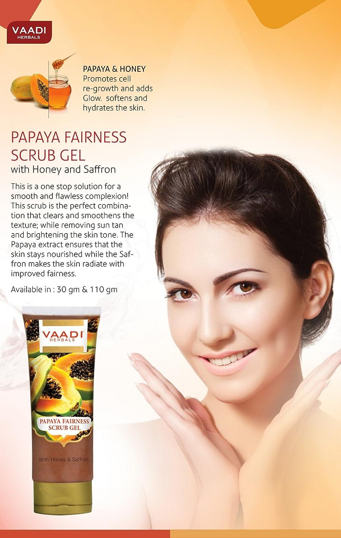 Vaadi Herbals Papaya Fairness Scrub Gel with Honey and Saffron, 110g x 2 Max Effects Naturals Botanical Facial Toner 6.7 oz