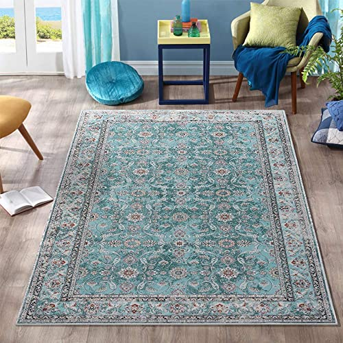 Persian Area Rug 3 x5 3 Floorcover Floral Pattern Kashan Traditional Non Slip Vintage Carpet Turqoise
