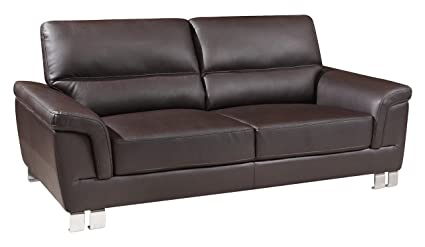 Blackjack Furniture 9412 BROWN S The Nathan Collection Leather Living Room  Sofa, Brown
