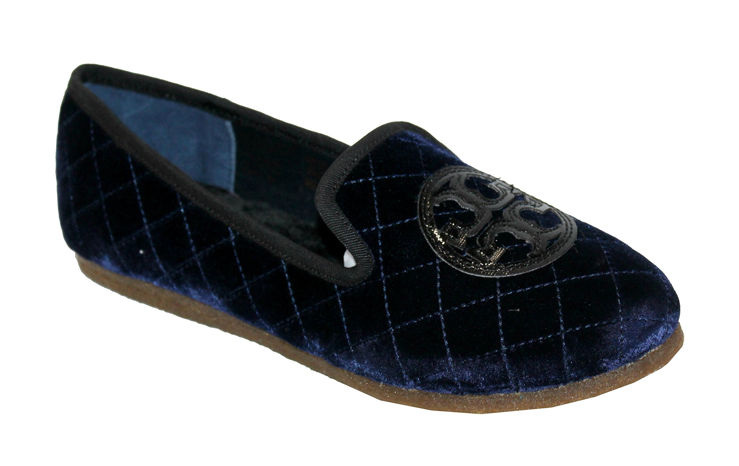 Tory Burch Quilted Billy Slipper Smart Velvet/Leather Shoes Bright Navy (11)