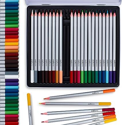 24 lápices acuarela de calidad artística y profesional, de colores únicos y brillantes en caja de aluminio. Lápices de acuarela solubles en agua para efectos de mezcla húmeda y seca.: Amazon.es: Oficina