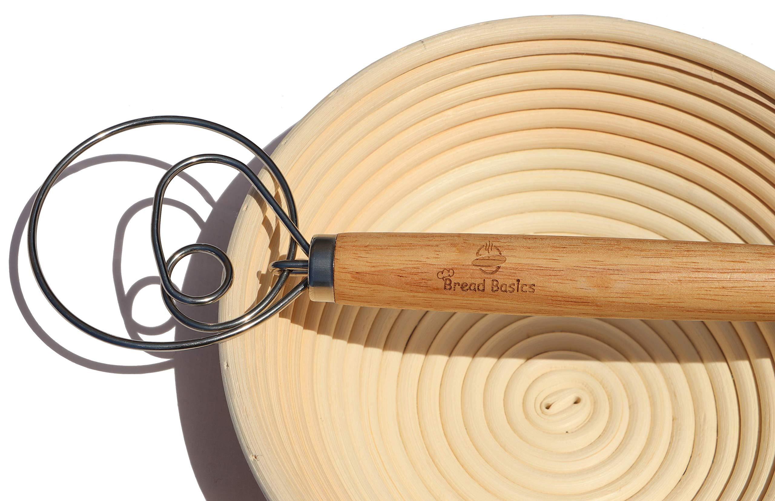 BreadBasics Banneton Proofing Basket   Premium Homemade Bread Starter Kit for Beginners   Includes Step by Step eBook, Bowl Scraper & Whisk, Lame, Brotform Liner, Cleaning Brush   Sourdough Supplies by BreadBasics (Image #7)