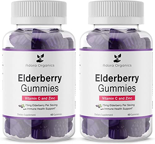2 Pack -Elderberry Gummies Vitamin C and Zinc- 75mg Elderberry Per Serving- Immune Support- Gluten Free.