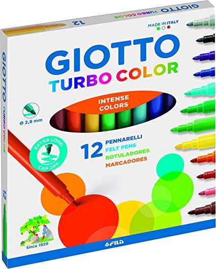 Giotto Turbo Color Estuche de 12 Rotuladores: Amazon.es: Oficina y papelería