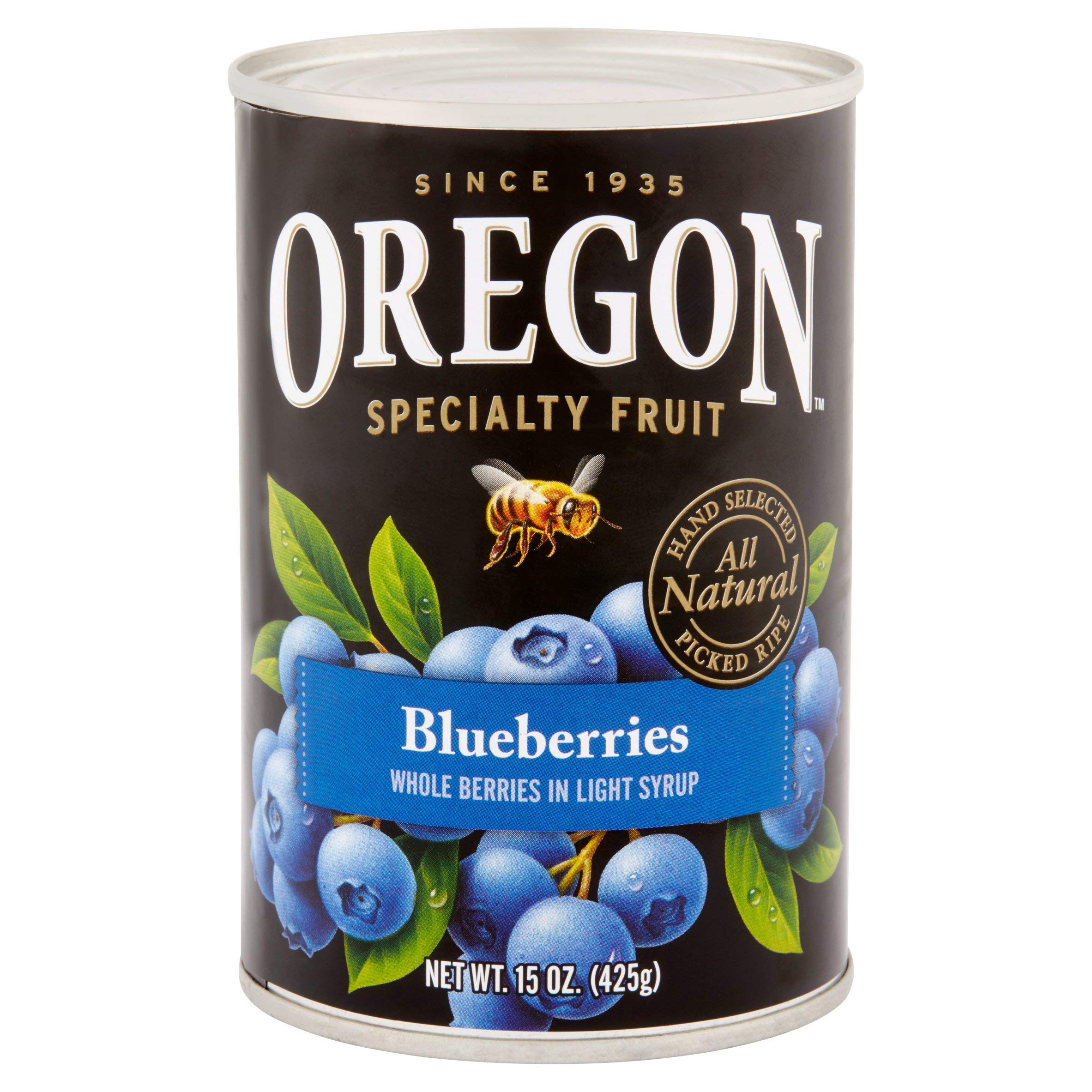 Oregon Fruit All-Natural Blueberries in Light Syrup, 15 oz. Can (2 count) (Pack of 2)