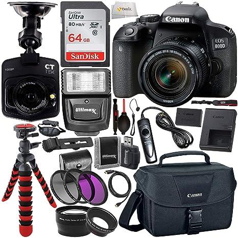 Canon EOS Rebel 800D (T7i) DSLR Camera w/ 18-55mm Lens, Free Promotional  Dash Cam & Essential Accessory Bundle – Includes: SanDisk Ultra 64GB SDXC