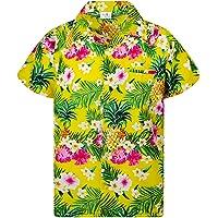 KING KAMEHA Funky Casual Camisa hawaiana para niños y niñas bolsillo frontal manga corta Unisex Piña flores impresión