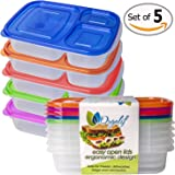 Orgalif 3-Comparment Reusable Plastic Bento Lunch Box (Set of 5)