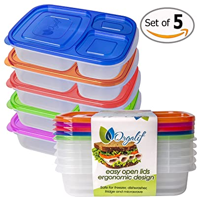 Orgalif BPA-Free 3-compartment Reusable Plastic Bento Lunch Box