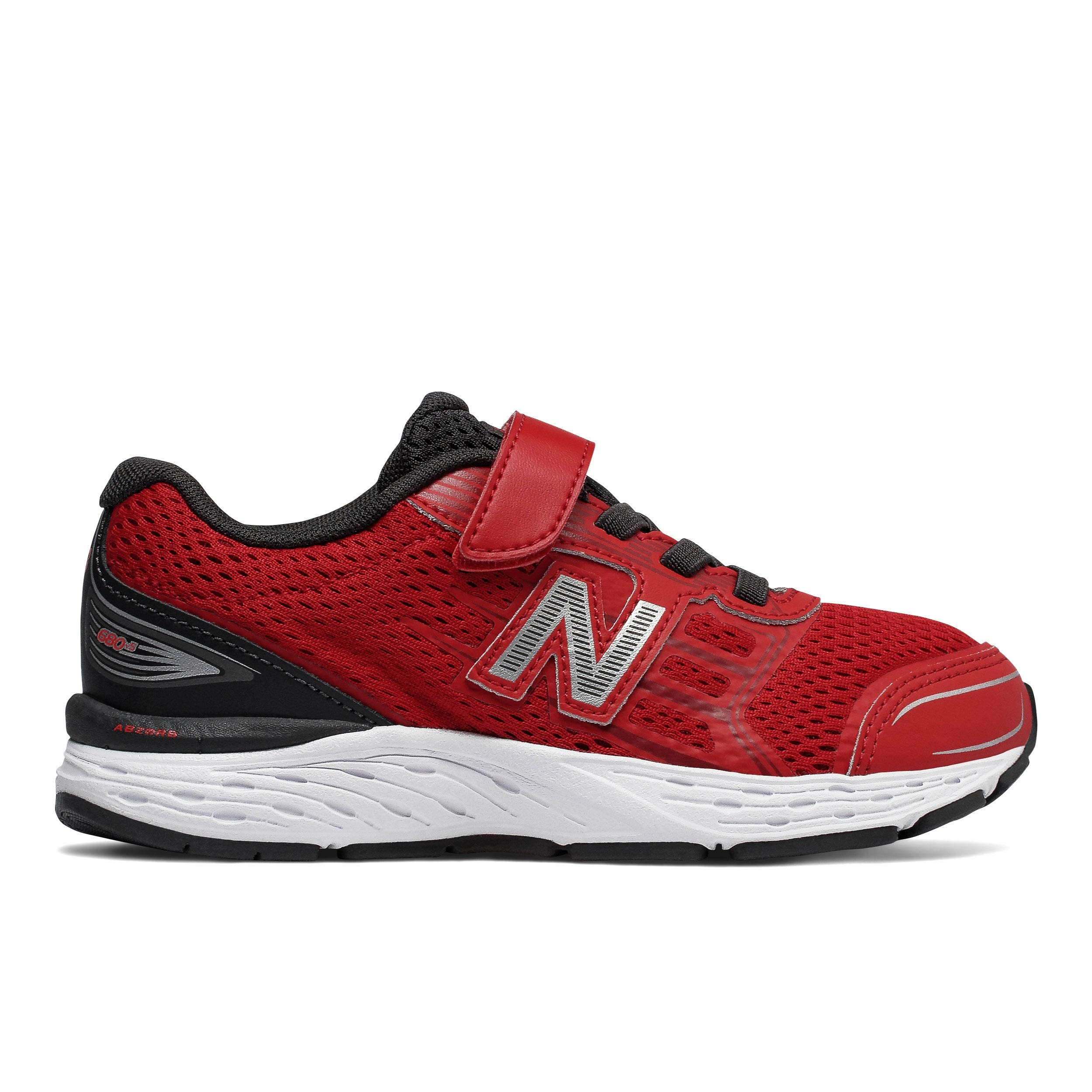 New Balance Boy's 680V5 Hook and Loop Running Shoe, Team Red/Phantom, 7 M US Toddler