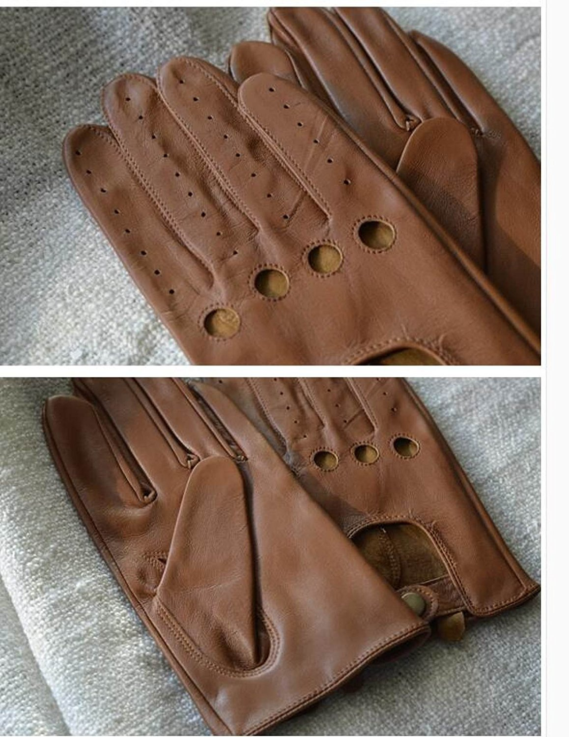 HOMEE Men'S Leather Drives Gloves Thin Repair Design Leakage Four Seasons Available,Brown,Medium by HOMEE (Image #2)