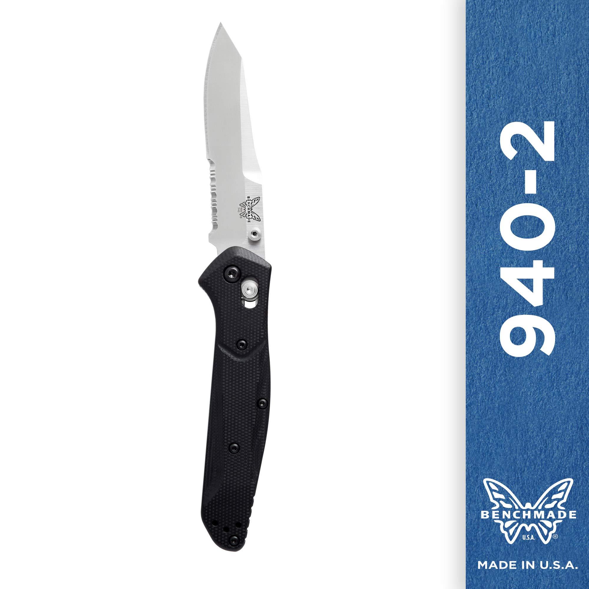 Benchmade - 940-2 Knife, Reverse Tanto Blade, Serrated Edge, Satin Finish, G10 Handle