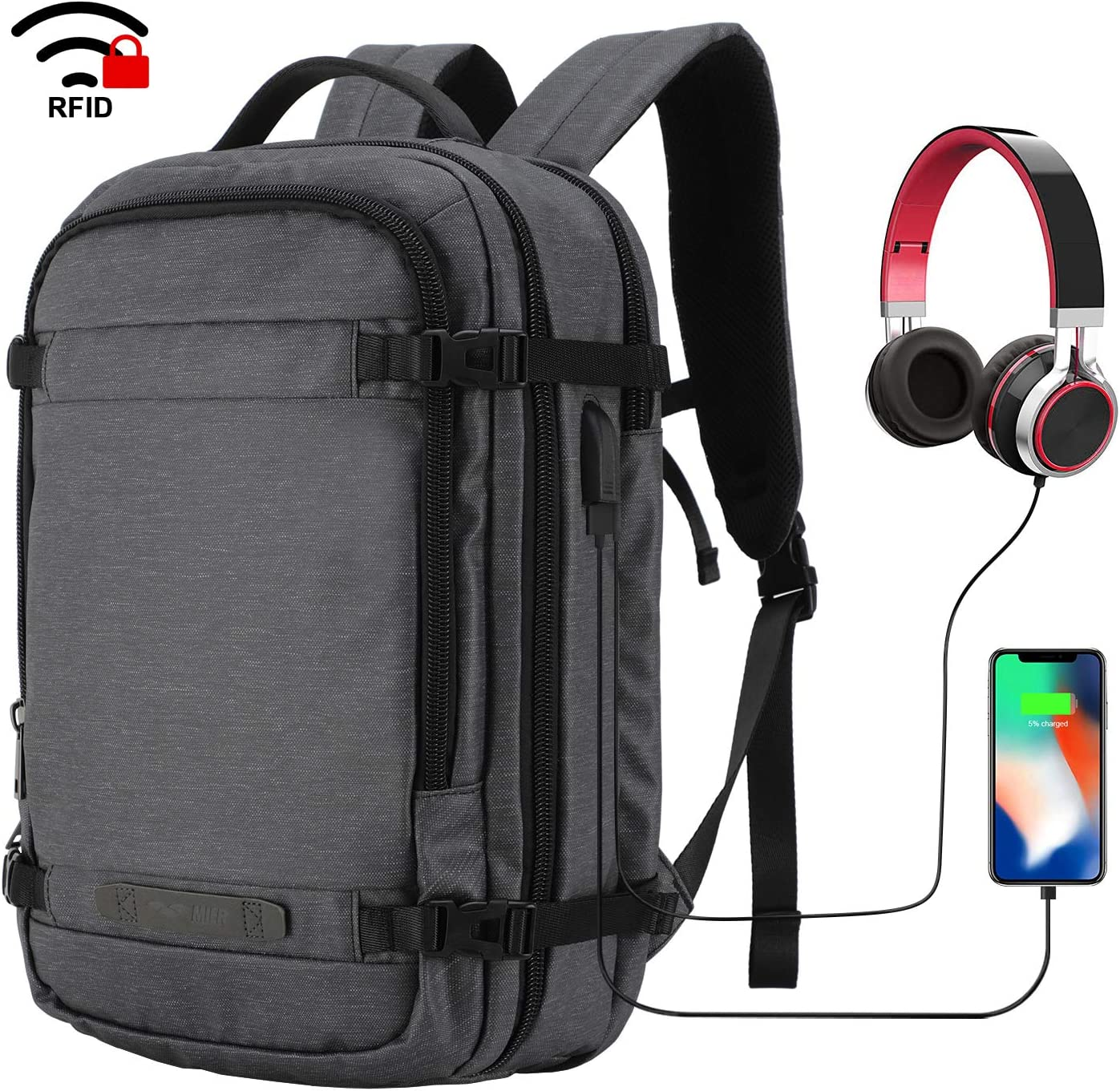 MIER Travel Backpack 17 Inches Laptop Carry On Daypack with USB Charging Port, Dark Grey
