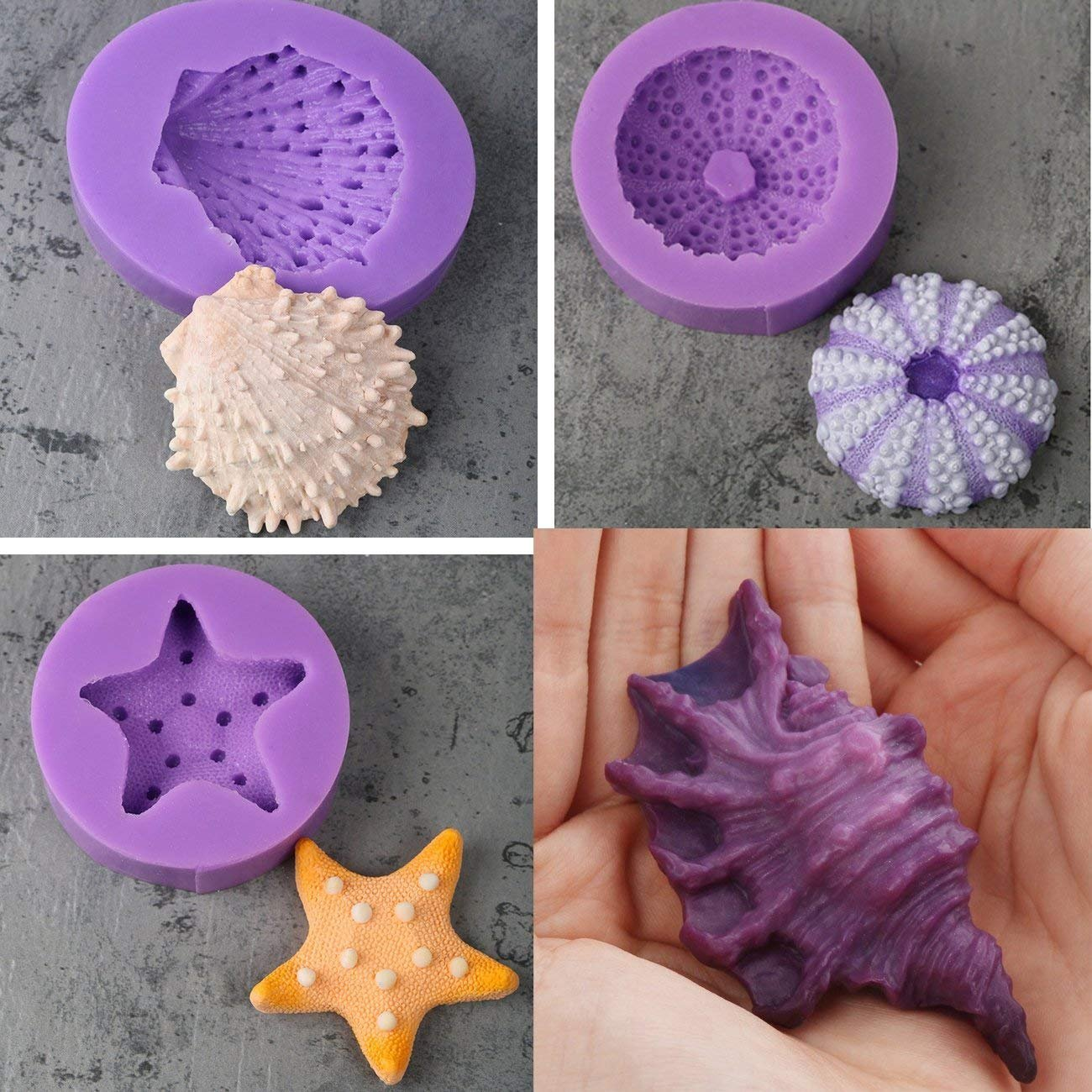 Anyana Seashell Starfish Sea Urchin Seagull mold Fondant silicone Mould for gum paste Sugar paste cake decorating cupcake topper decor set of 7pcs by Anyana (Image #7)