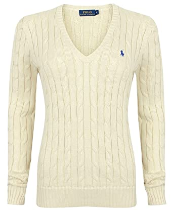 the latest 9c496 7783c Ralph Lauren Damen Pullover - V-Neck - Creme (XL)