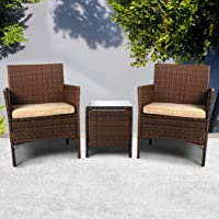 Outdoor Furniture Set Patio Garden 3 Pcs Chair Table Rattan Wicker Seat Setting