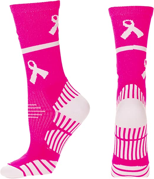 MadSportsStuff Pink Ribbon Breast Cancer Awareness Socks with Stripes