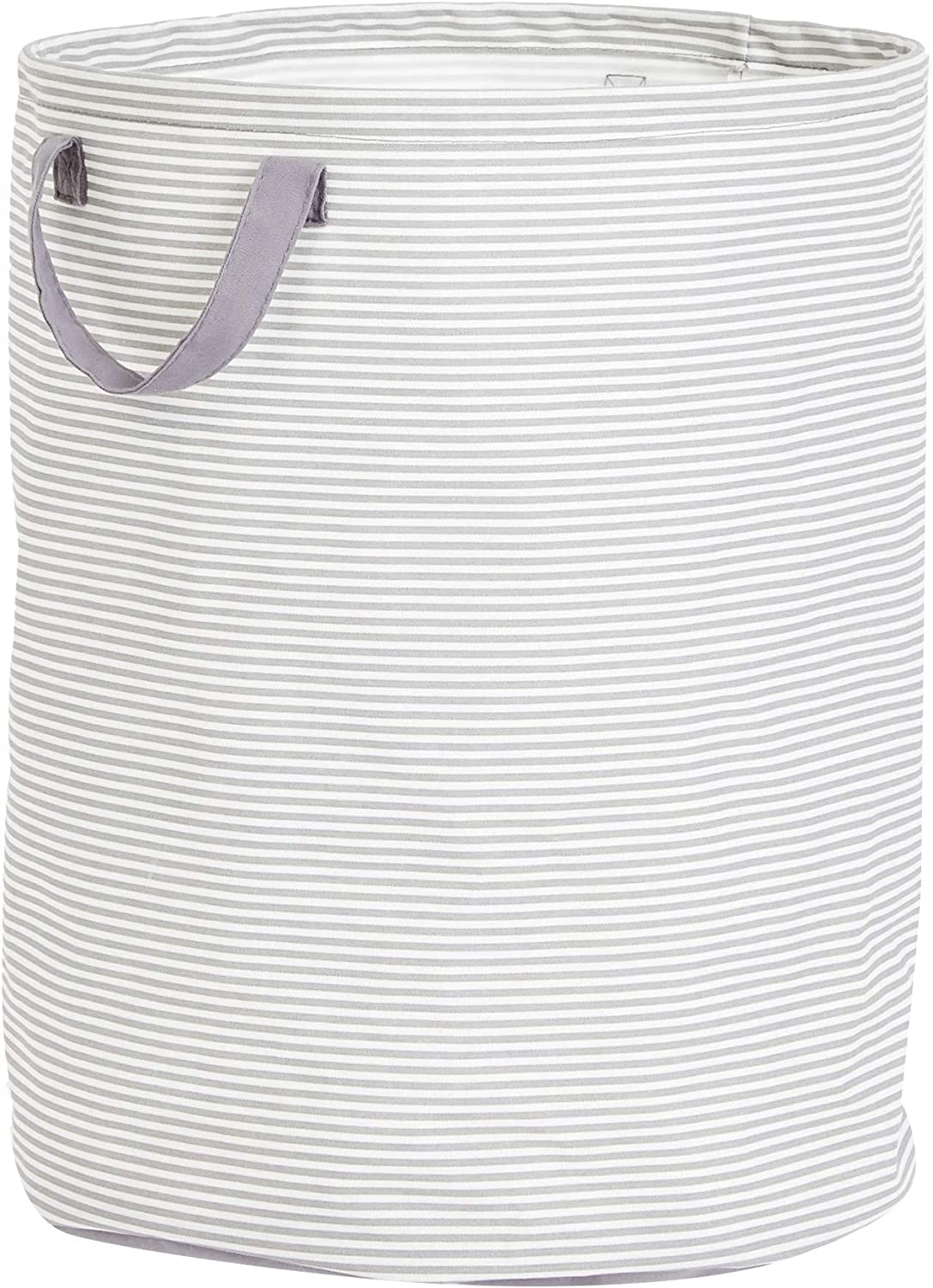 AmazonBasics Large Round Laundry Hamper Storage Basket with Handles, Striped