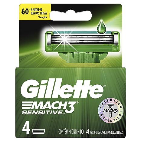 Gillette Mach3 Sensitive Cartuchos Para Afeitar 4 Unidades  Amazon.com.mx   Salud 8c54646f29b1