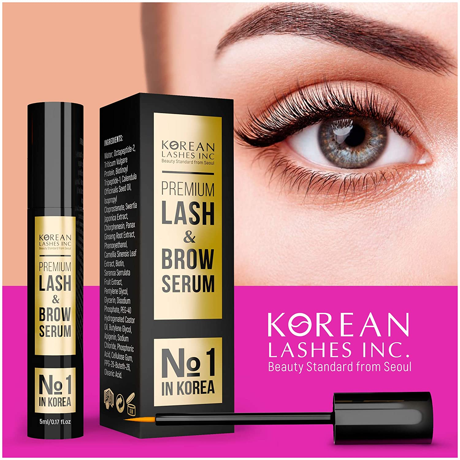 Korean №1 Eyelash & Brow Growth Enhancer Serum with Biotin & Natural Growth Tripeptides for Long, Natural, Thick Lashes & Brows - Dermatologist recommended & Hypoallergenic (L)