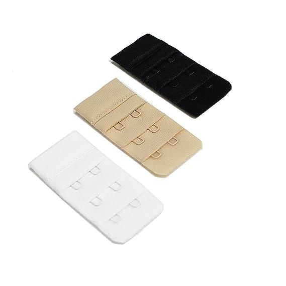 Herzmutter Extensión del sujetador, juego de 3, beige-negro-blanco, para sujetador de lactancia con 2 ganchos, durante el embarazo y aumento de peso (9000) ...