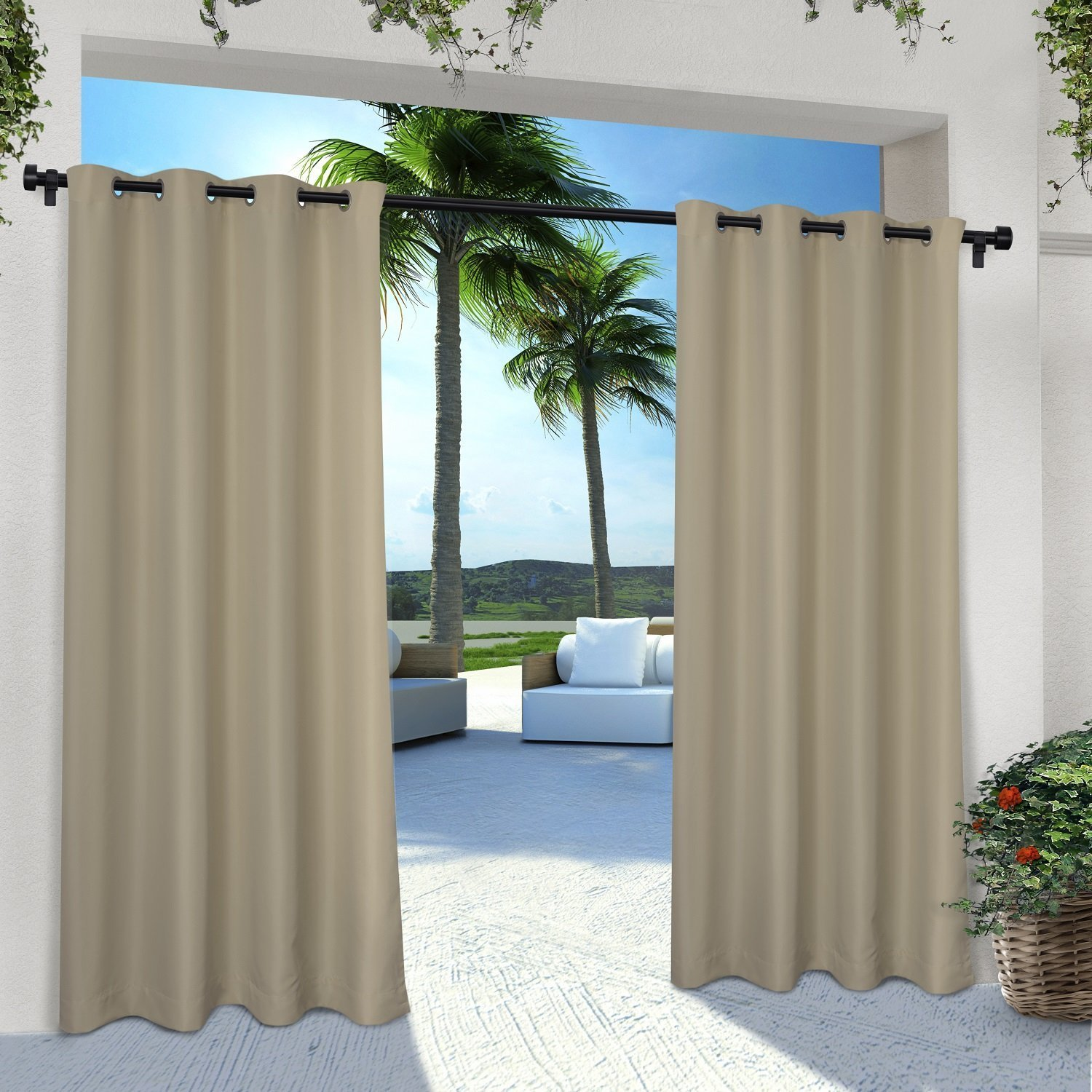 Shatex 50x120inchs Sunbrella Indoor/Outdoor single Window Curtain Panel Drape Nickel Grommet Top Wheat UV Ray Protected (Available in Multiple sizes)