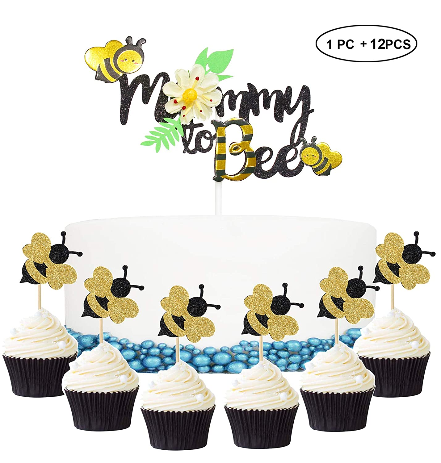 Bumble Bee Cupcake Toppers Set 12pcs With 1 Large Cake Topper Baby