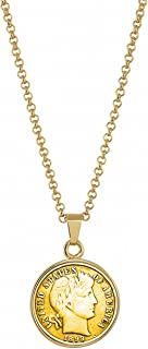 """product image for American Coin Treasures Gold-Layered 1800's Silver Barber Dime Goldtone Pendant with 18"""" Chain"""