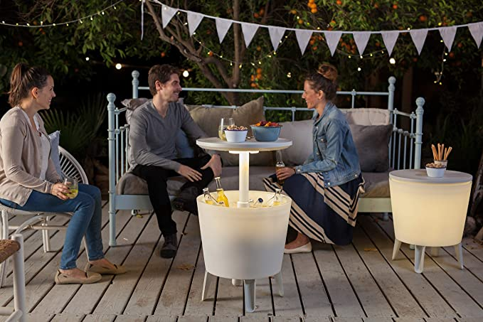 Keter - Mesa nevera para jardín Cool Bar iluminado, Color blanco